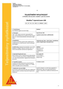 SikaMur InjectoCream-100 Teljesítmény Nyilatkozat