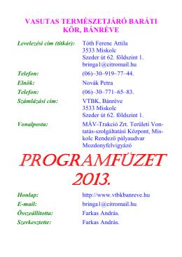 2013-as kész programfüzet _A6 - Vasutas Természetjáró Baráti Kör