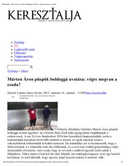 Márton Áron püspök boldoggá avatása: végre