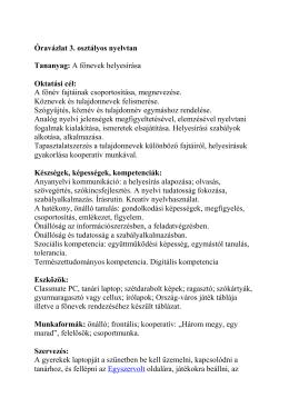 Óravázlat 3. osztályos nyelvtan Tananyag: A főnevek