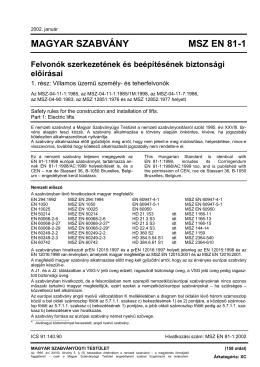 MAGYAR SZABVÁNY MSZ EN 81-1