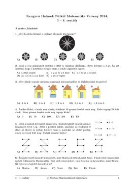 Kenguru Határok Nélkül Matematika Verseny 2014. 3 – 4. osztály