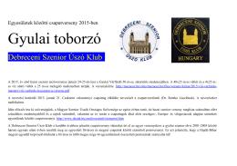 Gyulai toborzó - Debreceni szenior úszó Klub
