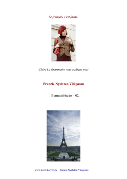 Francia Nyelvtan Világosan Bemutatólecke – 02.