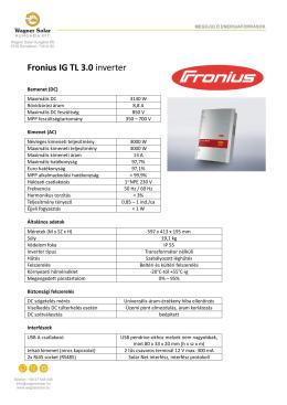 Töltse le a Fronius inverter magyar nyelvű adatlapját!