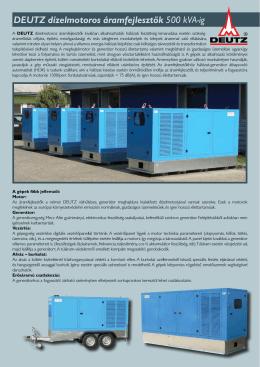 DEUTZ dízelmotoros áramfejlesztők 75-500 kVA-ig