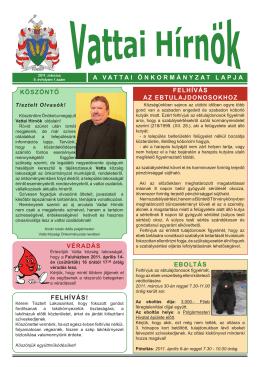 a vattai önkormányzat lapja köszöntő véradás eboltás felhívás!