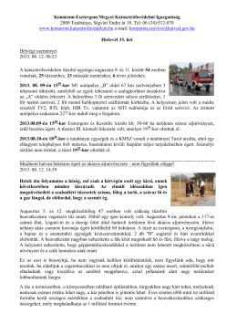 2013. 33. hét - Komárom-Esztergom Megyei Katasztrófavédelmi