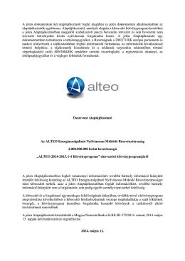 Az ALTEO Nyrt. 2014-2015. évi kötvényprogramjára vonatkozó