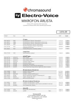 140929 - ELECTRO-VOICE mikrofon ÁRLISTA