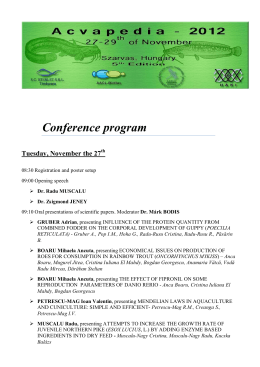 Conference program Tuesday, November the 27