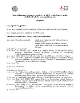 A konferencia programja - Kriza János Néprajzi Társaság