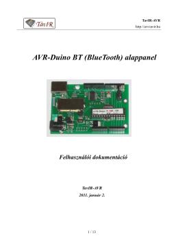AVR-Duino BT (BlueTooth) alappanel Felhasználói - Tavir-AVR