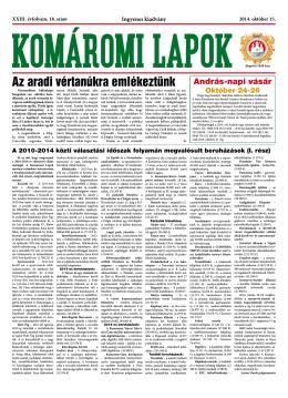 Komáromi Lapok 18/2014 - Mestská televízia Komárno