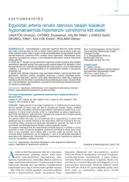 Egyoldali arteria renalis stenosis talaján kialakult hyponatraemiás