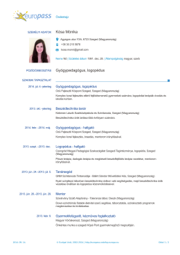 Kósa Mónika Gyógypedagógus, logopédus
