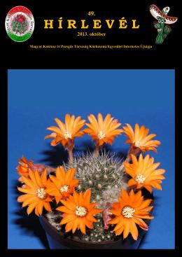 49. Hírlevél 2013. október - Magyar Kaktusz és Pozsgás Társaság