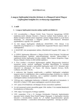 A magyar légiforgalmi irányítás történetéről és a