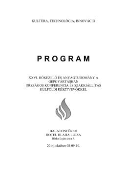 szakmai program - XXVI. HŐKEZELŐ ÉS Anyagtudomány a