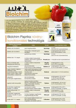 Biolchim Paprika növény- kondícionálási technológia
