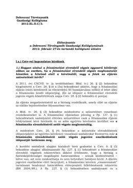 Debreceni Törvényszék Gazdasági Kollégiuma 2012.EL.II.C/3