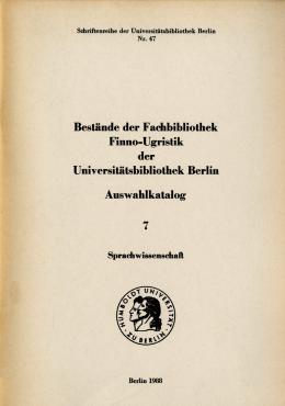 Bestände der Fachbibliothek Finno-Ugristik der