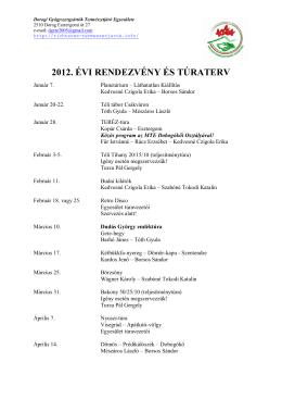 2012. évi rendezvény és túraterv