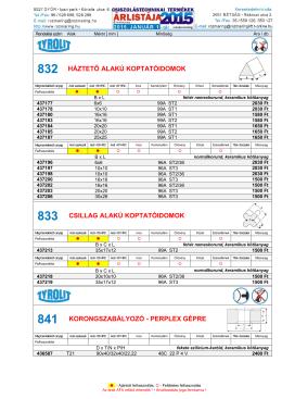 832 HÁZTETŐ ALAKÚ KOPTATÓIDOMOK 833 CSILLAG ALAKÚ