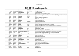BC 2011 participants - RailNetEurope (RNE)