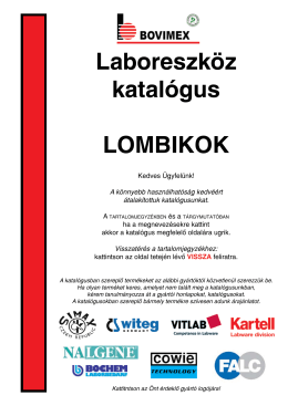 Laboreszköz katalógus LOMBIKOK