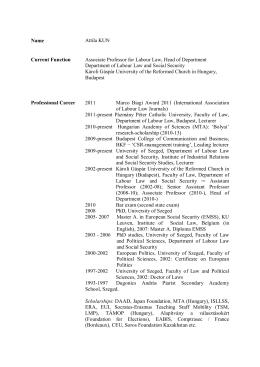 Curriculum vitae - MTA - PTE Munkajogi Kutatócsoport