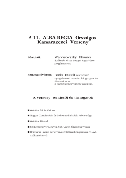 A 11. ALBA REGIA Országos Kamarazenei Verseny