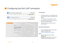 Configuring the first VoIP connection