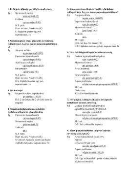 1. Fejfájást csillapító por (Pulvis analgeticus) Rp. Metamizoli natrici