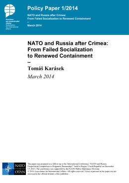 Policy Paper 1/2014 NATO and Russia after Crimea: From Failed