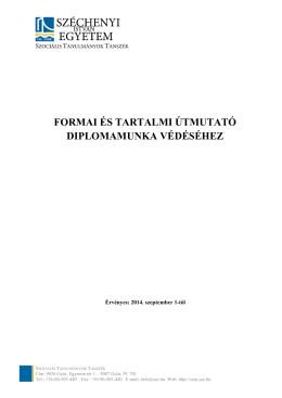 Diplomamunka védési útmutató - Szociális Tanulmányok Tanszék