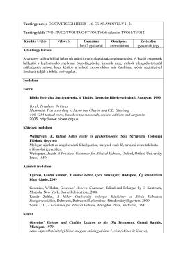 Ószövetségi héber és arám nyelv - Sola Scriptura Teológiai Főiskola