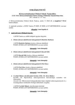 EMLÉKEZTETŐ - Környezettudományi Doktori Iskola
