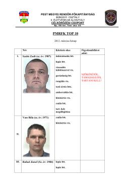 Pest megyei Rendőr-főkapitányság TOP 10 bűnözőinek listája 2012