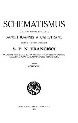 Cap.1933.Schem. PDF - Magyar Ferences Könyvtár és Levéltár