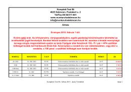 Ipoly termékek árlistája 2015 - Komplett