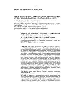 161 Acta Biol. Debr. Oecol. Hung. 26: 161–178, 2011
