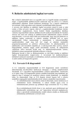 9. Relációs adatbázisok logikai tervezése