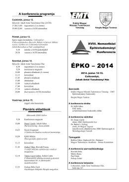 Program és informaciók - ÉPKO