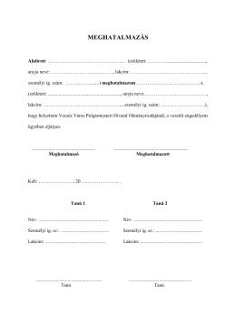 Meghatalmazás - vezetői engedély