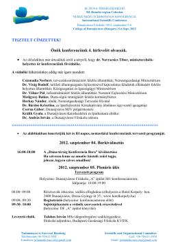 III. Dunatérségi Kohézió - Konferencia 2012