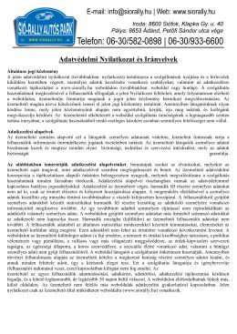 Adatvédelmi Nyilatkozat és Irányelvek