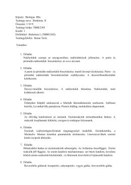 TBBE2303 Biokémia II