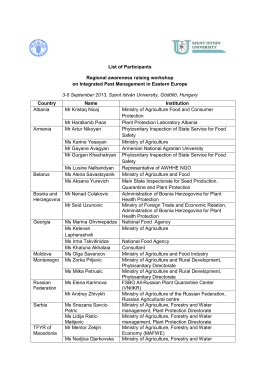 List of Participants Regional awareness raising workshop on
