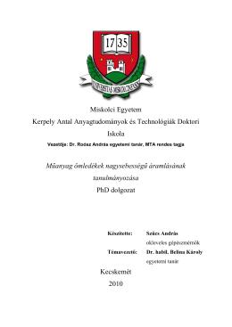 PhD értekezés - Kerpely Antal Anyagtudományok és technológiák